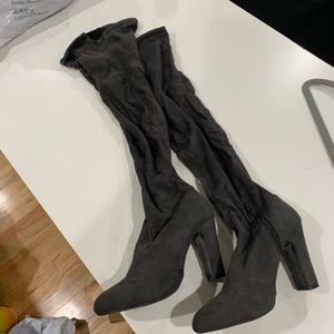 Gray knee high boots heels
